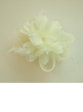 Señoras Hermoso Hilado de la red/Flores de seda Joyas Frente