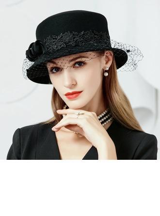 Señoras' Elegante Madera con Tul Bombín / cloché Sombrero/Sombreros Tea Party