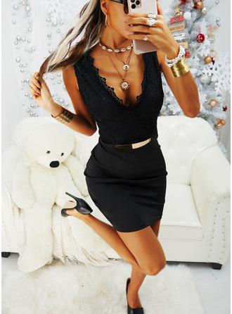 Pizzo Solido Aderente Senza maniche Mini Piccolo nero Partito Vestiti di moda