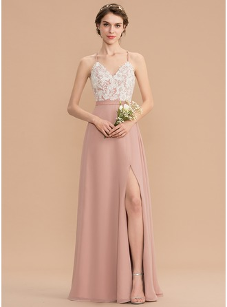 c24ee56cc1f28 A-Line V-neck Floor-Length Chiffon Lace Bridesmaid Dress With Split Front