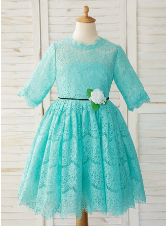 A-Line Knee-length Flower Girl Dress - Lace Long Sleeves Scoop Neck With Flower(s)