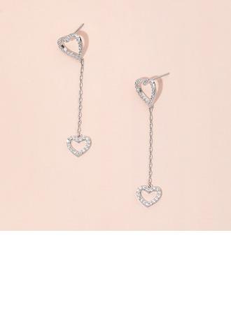 Boucles d'oreilles pendantes Coeur Zircon coeur Percées Boucles d'oreilles