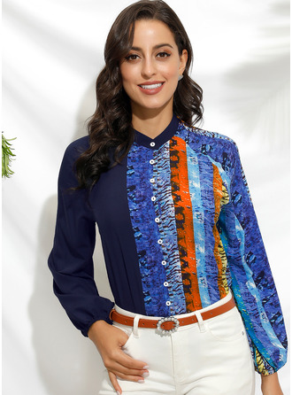 Color Block Print V-Neck 3/4 Sleeves Button Up Casual Shirt Blouses