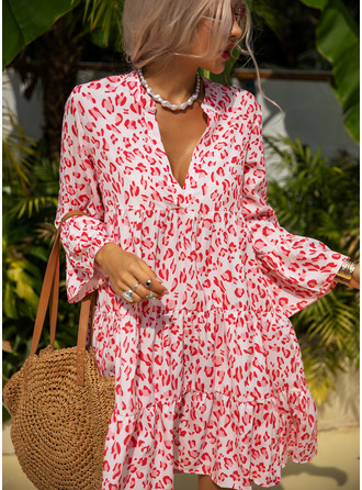 Leopard Shift 3/4 Sleeves Flare Sleeve Mini Casual Vacation Tunic Dresses