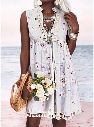 Floral Print Tassel Shift Sleeveless Mini Casual Vacation Dresses