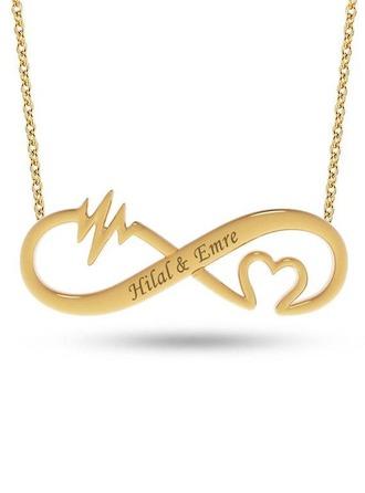 Personalizado Chapado en oro de 18 k infinito Dos Collar con nombre Collar grabado con Corazón