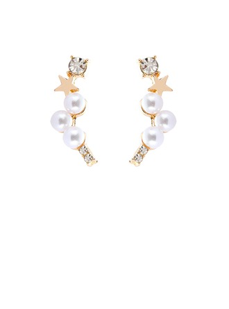 Star Shaped Alloy Imitation Pearls With Imitation Pearl Women's Fashion Earrings (Sold in a single piece)