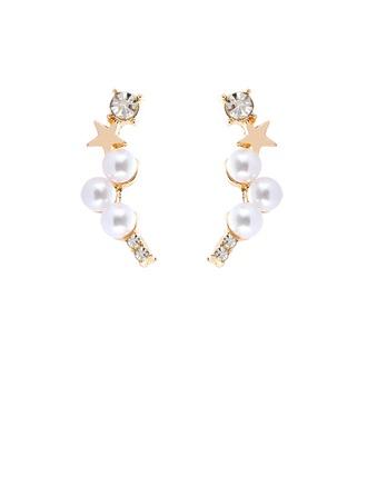 en forma de estrella Aleación La perla de faux con Perlas de imitación De mujer Pendientes de la manera (Sold in a single piece)
