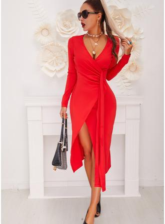 Pevný Pouzdrové Dlouhé rukávy Midi Malé černé Party Elegantní Módní šaty