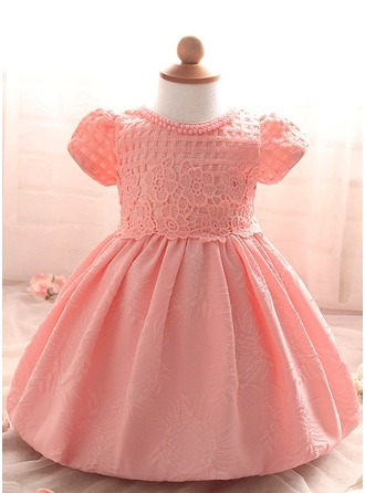 A-Line/Princess Knee-length Flower Girl Dress - Tulle/Polyester Short Sleeves Scoop Neck With Beading