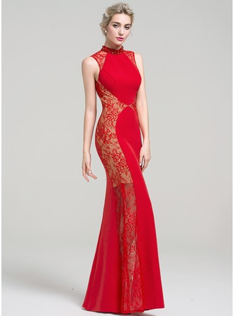Trumpet/Mermaid High Neck Floor-Length Satin Lace Prom Dress With Beading Sequins