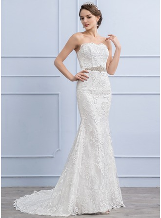 Trumpet/Mermaid Sweetheart Sweep Train Lace Wedding Dress With Beading Sequins