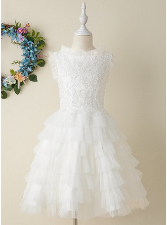 A-Line Knee-length Flower Girl Dress - Tulle/Lace Sleeveless Stand Collar With Appliques