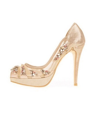 Женщины сетка Высокий тонкий каблук Закрытый мыс Платформа Beach Wedding Shoes с горный хрусталь