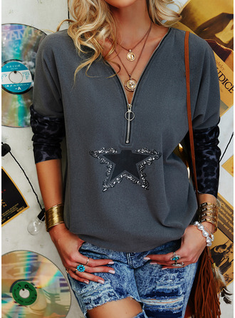 Leopard Print V-Neck Long Sleeves Casual Blouses