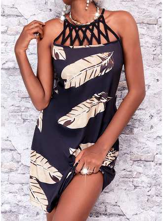 Print Shift Sleeveless Mini Casual Vacation Dresses