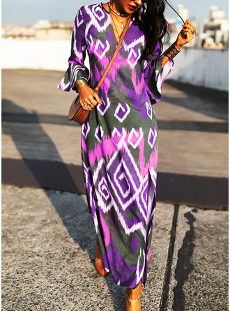 Print Shift 3/4 Sleeves Flare Sleeve Maxi Casual Vacation Dresses