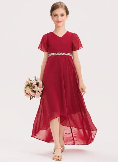 Corte A Decote V Assimétrico Tecido de seda Vestido de daminha júnior com Beading