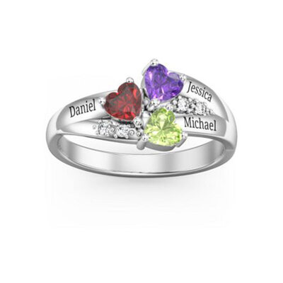 Sterling Silver Cubic Zirconia Brithstone Exquisite Heart Cut Mother's Rings Custom Rings -