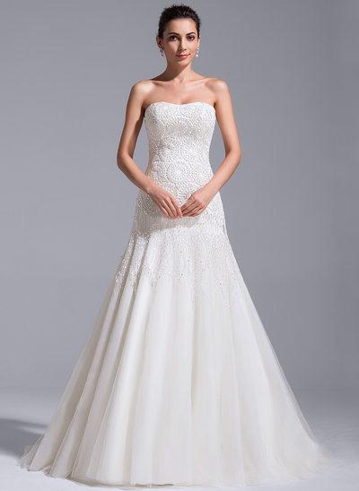 Corte A/Princesa Escote corazón Cola corte Tul Encaje Vestido de novia