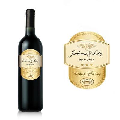 Marié - Personnalisé Style Vintage papier Étiquette de vin (Lot de 12)