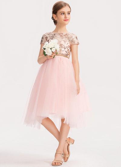 A-Linie U-Ausschnitt Asymmetrisch Tüll Kleid für junge Brautjungfern mit Pailletten