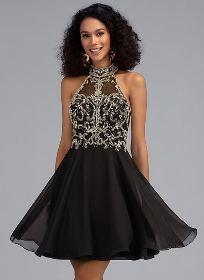 A-Line High Neck Short/Mini Chiffon Homecoming Dress With Beading