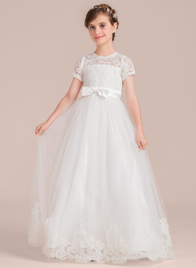 Scoop Neck Floor-Length Tulle Junior Bridesmaid Dress With Bow(s)