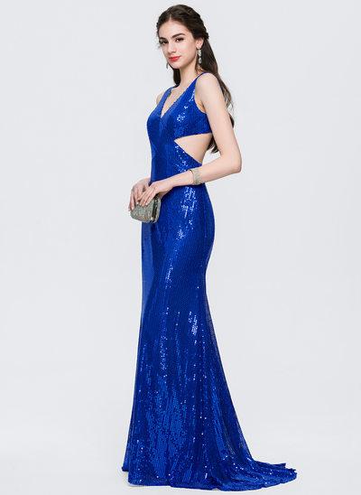 Denizkızı V yaka Kuyruklu Sequined Mezuniyet Elbisesi