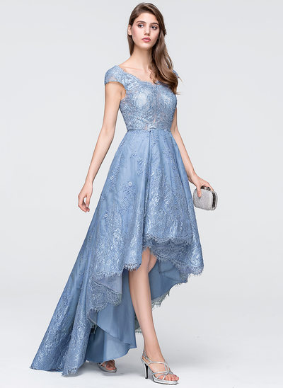 A-Line/Princess V-neck Asymmetrical Tulle Lace Prom Dresses