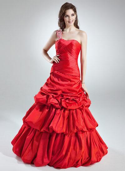 A-Line/Princess One-Shoulder Floor-Length Taffeta Prom Dress With Ruffle Beading