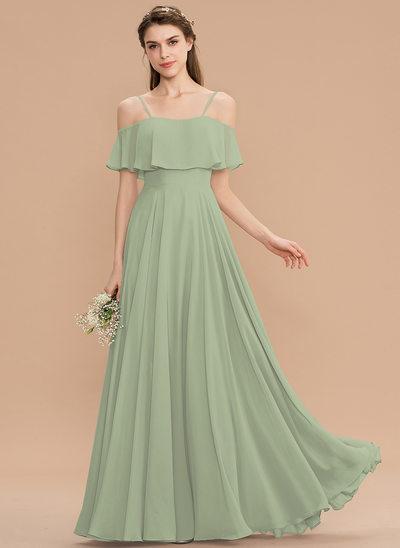 Corte A Off-the-ombro Longos Tecido de seda Vestido de madrinha