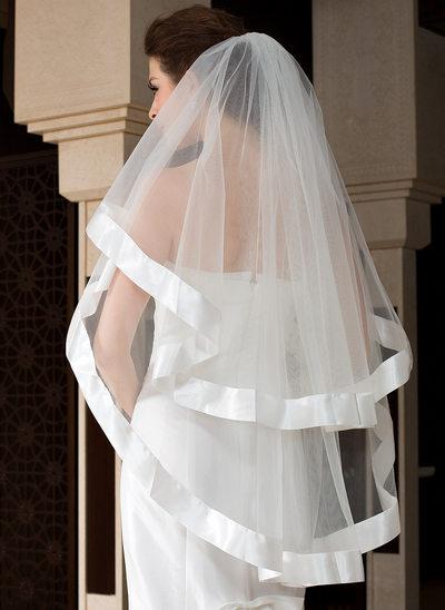 Een-rij Wals Bruids Sluiers met Lint Rand