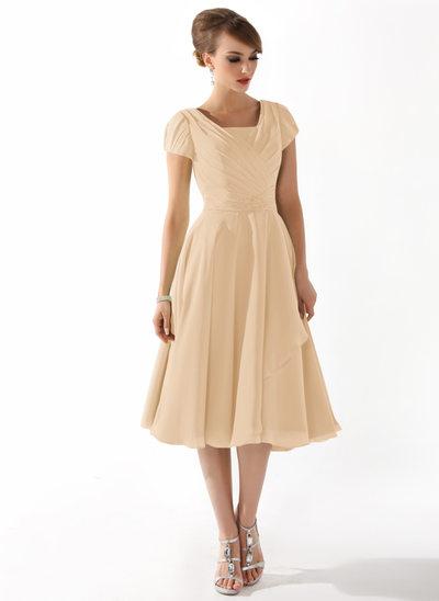 Çan/Prenses Kare Yaka Diz Hizası Chiffon Gelin Annesi Elbisesi Ile Büzgü Boncuklama