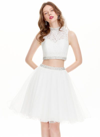 A-Line High Neck Knee-Length Tulle Homecoming Dress With Beading Sequins