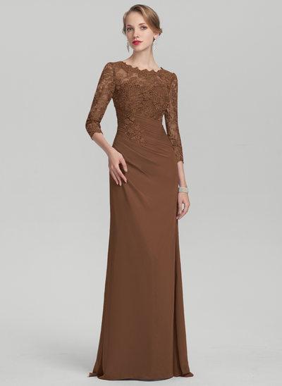 Etui-Linie U-Ausschnitt Bodenlang Chiffon Spitze Kleid für die Brautmutter mit Rüschen