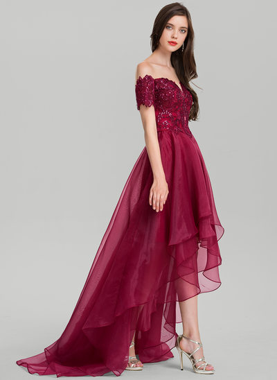 A-Line/Princess Off-the-Shoulder Asymmetrical Organza Prom Dress With Sequins