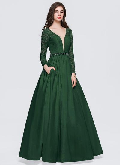 Duchesse-Linie V-Ausschnitt Bodenlang Taft Abiballkleid mit Perlstickerei Taschen