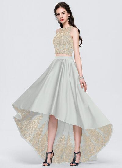 Трапеция Круглый асимметричный Атлас Платье Для Выпускного Вечера