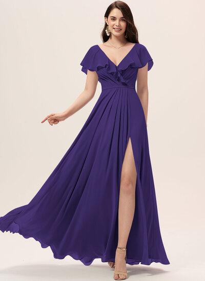 Трапеция V-образный Длина до пола Платье Подружки Невесты с Разрез спереди