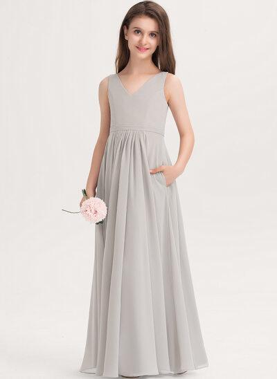 Трапеция V-образный Длина до пола шифон Платье Юнных Подружек Невесты с Карманы