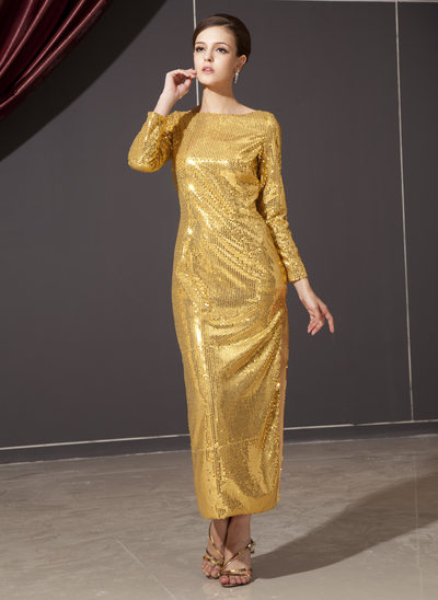 Sheath/Column Scoop Neck Ankle-Length Sequined Holiday Dress