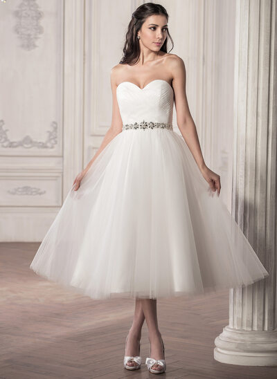 A-Line/Princess Sweetheart Tea-Length Tulle Wedding Dress With Ruffle Beading Sequins