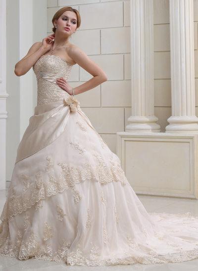 Duchesse-Linie Trägerlos Kapelle-schleppe Satin Organza Brautkleid mit Rüschen Spitze Perlen verziert Kristalle Blumen Brosche Blumen