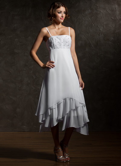 Empire Asymmetrical Chiffon Wedding Dress With Lace Cascading Ruffles