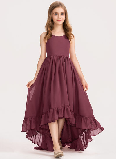 Corte A Decote redondo Assimétrico Tecido de seda Vestido de daminha júnior com Curvado Babados em cascata