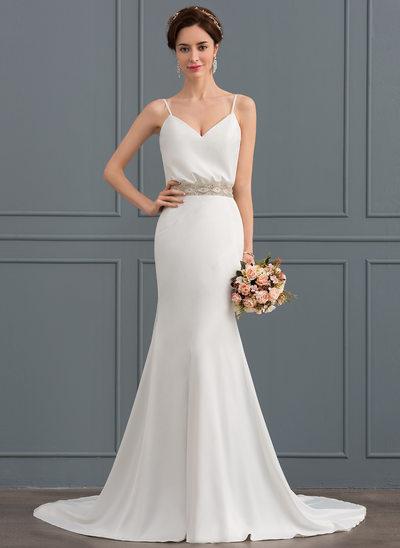 Trompete/Sereia Decote V Cauda de sereia Crepe Elástico Vestido de noiva com Beading