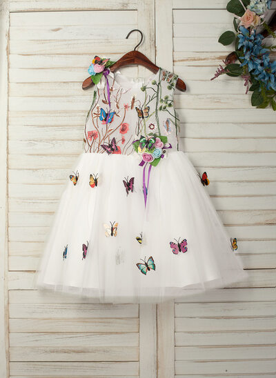 A-Line/Princess Knee-length Flower Girl Dress - Tulle/Lace Sleeveless Scoop Neck With Appliques/Flower(s)