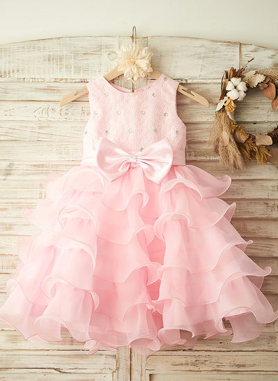 A-Line/Princess Knee-length Flower Girl Dress - Satin Sleeveless Scoop Neck With Bow(s)/Rhinestone