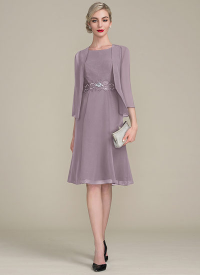 A-Line Scoop Neck Knee-Length Chiffon Mother of the Bride Dress With Ruffle Lace Beading Sequins